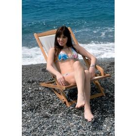 Sedia a sdraio pieghevole  Mod. Emi in legno balau con finitura ad olio - arredo giardino mare balcone