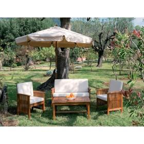 Salotto New Castle in legno balau set completo di cuscini - arredo giardino casa