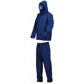 Completo impermeabile giacca e pantaloni blu con cappuccio taglia M