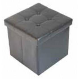 Pouf Mod. Storage rivestimento in PU nero cm. 38x38x38h - arredo casa