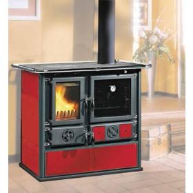 Cucina a legna Nordica Mod. Rosa bordeaux 6.5 kW 185 m³ - stufa riscaldamento casa arredo interni