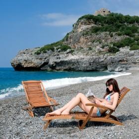 Sedia a sdraio pieghevole Mod. Vip in legno balau con finitura ad olio - arredo giardino mare balcone