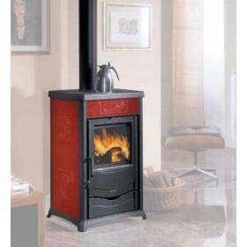 Termostufa a legna Nordica Mod. Rossella Plus bordeaux 13.5 kW 390 m³ - stufa riscaldamento casa arredo interni