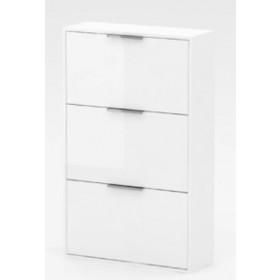 Scarpiera in kit a 3 ribalte doppie laccata bianca cm. 65x25x100h - arredo casa mobile bagno