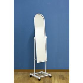 Specchio a pavimento bianco base in acciaio con ruote