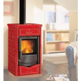 Termostufa a legna Nordica Mod. Nicoletta bordeaux 13.5 kW 390 m³ - stufa riscaldamento casa arredo interni
