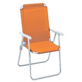 Poltrona pieghevole serie Katia struttura in accaio colore arancione - sedia giardino mare campeggio