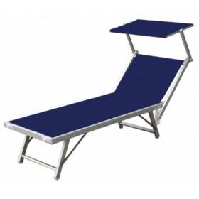 Lettino con schermo parasole serie Playa struttura in alluminio colore blu - sedia giardino mare campeggio