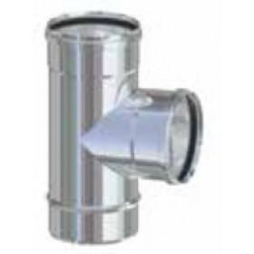 Raccordo a T per tubi stufa a pellet in acciaio inox diametro cm. 8 attacco FFM - impianto riscaldamento casa