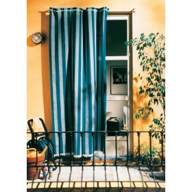 Tenda da sole cotone poliestere cm 140x250h fantasia blu rigato