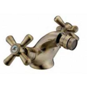 Miscelatore bidet a croce in ottone bronzato con scarico automatico - Serie Sofia