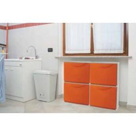 Scarpiera modulare in ABS antiurto bianca cm. 51x19x39h - arredo casa bagno scarpe