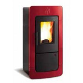 Termostufa a pellet Nordica Mod. Diadema ACS Idro in maiolica bordeaux stufa 6.7-28.3 kW 810 m³ - riscaldamento casa arredo interni