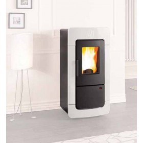 Termostufa a pellet Nordica Mod. Diadema ACS Idro in maiolica bianca stufa 6.7-28.3 kW 810 m³ - riscaldamento casa arredo interni