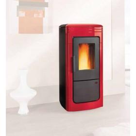 Termostufa a pellet Nordica Mod. Liliana Idro in maiolica bordeaux stufa 6.7-22.8 kW 655 m³ - riscaldamento casa arredo interni