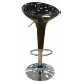 Sgabello nero in resina con piede in metallo cromata e alzata a gas Mod. Bar - arredo casa cucina soggiorno