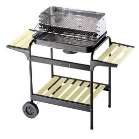 Barbecue a Carbonella Mod. Green-X struttura in acciaio con Griglia regolabile ripiani e mensole in legno - arredo casa giardino