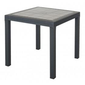 Tavolo antracite in resina antiurto Mod. Dallas cm. 80x80x74h - arredo casa giardino