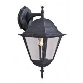 Lanterna con braccio Mod. Down Serie New York in alluminio verniciato grigio ghisa anticato con protezione in vetro per lampada da 60 W - casa giardino