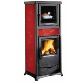 Stufa a legna Nordica Mod. Rossella Plus Forno bordeaux 8.0 kW-N 229 m³ - riscaldamento casa arredo interni