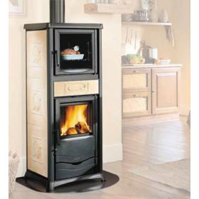 Stufa a legna Nordica Mod. Rossella Plus Forno pergamena 8.0 kW-N 229 m³ - riscaldamento casa arredo interni