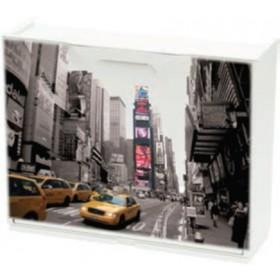 Scarpiera modulare in ABS antiurto New York motive cm. 51x17x40h - arredo casa bagno scarpe