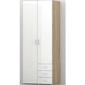 Armadio Tvilum 2 ante e 3 cassetti laccatura bianca cm. 78x49x200h - arredo casa