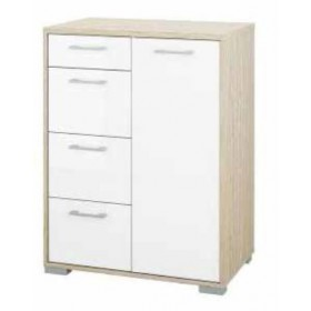 Mobile basso Tvilum con anta e 4 cassetti laccato bianco cm. 70x42x92h - arredo casa