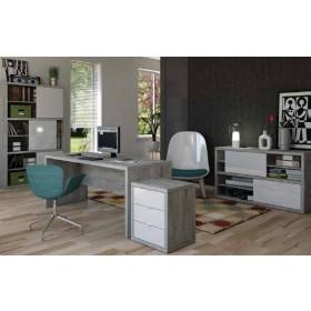 Mobile per ufficio con ante scorrevoli Composad rovere grigio cm. 35.5x140x86.5h Linea Pratico - arredo casa libreria