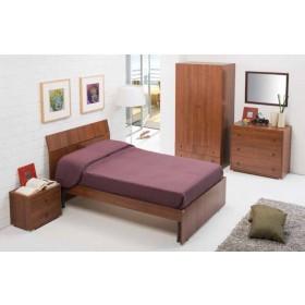 Letto singolo in legno finitura noce antico Linea Classic cm. 85x200x98h - arredo casa
