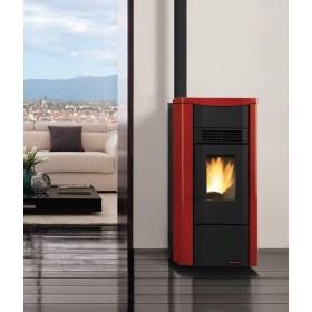 Stufa a pellet Nordica Mod. Giusy bordeaux top in maiolica 2.4-7.0 kW 200 m³ - riscaldamento casa arredo interni