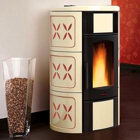 Termostufa a pellet Nordica Mod. Iside Idro in maiolica ametista stufa 5.3-18.8 kW 540 m³ - riscaldamento casa arredo interni