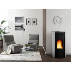 Termostufa a pellet Nordica Mod. Raffaella stufa argento 5.3-18.8 kW 540 m³ - riscaldamento casa arredo interni