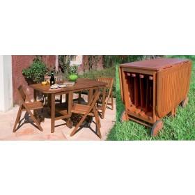 Set completo tavolo 4 sedie legno finitura olio richiudibile Mod BOSTON