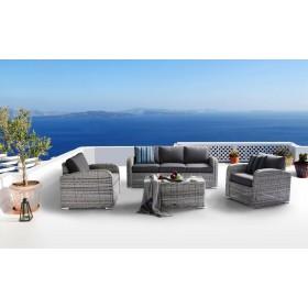 Salotto polirattan grigio set 4 pezzi completo di cuscini Mod SOFIA