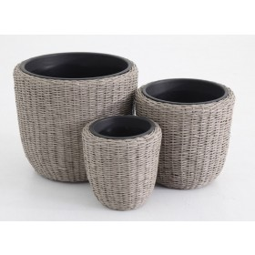 Set 3 vasi design polirattan tondi completi di vaso in plastica