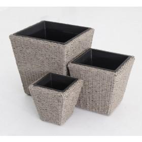 Set 3 vasi design polirattan quadrati completi di vaso in plastica