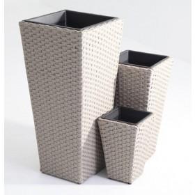 Set 3 vasi design polirattan completi di vaso in plastica Mod BIG