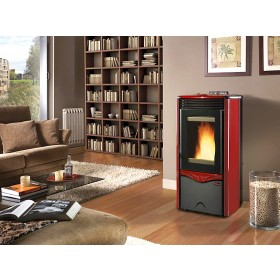 Termostufa a pellet Nordica Mod. Duchessa Idro Steel stufa bordeaux 3.6-12.0 kW 344 m³ - riscaldamento casa arredo interni