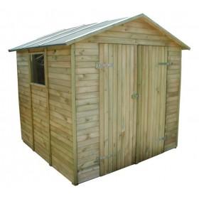 Casetta legno di pino cm 240x233x225h anta doppia tetto OBS 10 mm