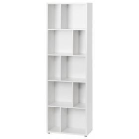 Libreria moderna finitura bianca 4 ripiani con divisori cm 61X33X192h