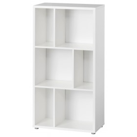 Libreria moderna finitura bianca 2 ripiani con divisori cm 61X33X117h
