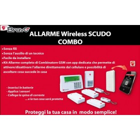 Antifurto allarme domestico wireless kit completo - Mod SCUDO COMBO