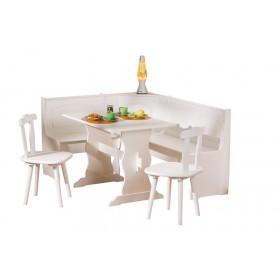 Kit Giropanca contenitore tavolo 2 sedie shabby legno massello bianco