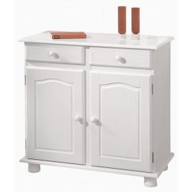 Buffet contromobile stile shabby legno massello bianco 2 ante 2 cassetti