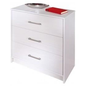 Cassettiera legno massello bianca 3 cassetti cm 70x35x71h Inter link
