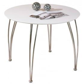 Tavolo moderno struttura metallo cromato piano mdf bianco Mod CELLINI