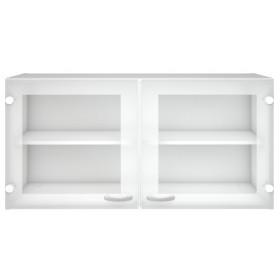 Pensile cucina 2 ante vetro legno finitura bianca cm 98x34x54h Tvilum