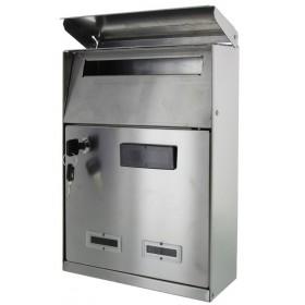 Cassetta postale in acciaio inox con tetto dimensioni mm 210x85x330h