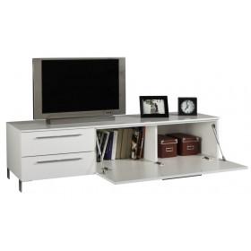 Mobile TV bianco laccato 2 cassetti e anta a ribalta cm 165x45x43h